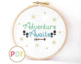 Cross Stitch Pattern - Adventure Awaits - For Beginners