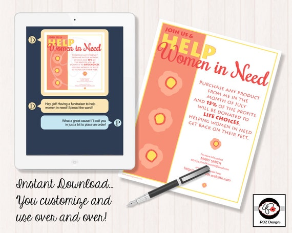 Fundraiser Flyer/Invitation - Help Women in Need Instant Download Digital Social Media Sale Flyer or Party Invitation: Women Helping Women