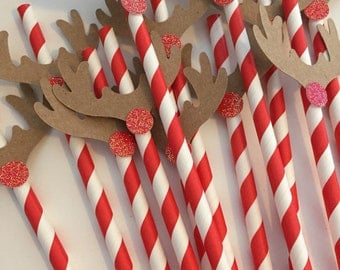Rudolph Christmas Party Paper Straws 12 CT