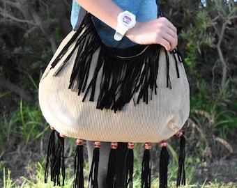 Large Corduroy Swing Bag with Black Fringe
