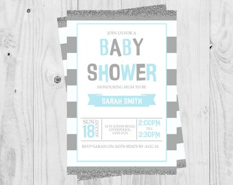 Printable Blue and Grey, Boy Baby Shower Invitations, Boy, Glitter Effect, Baby Shower, DIGITAL DOWNLOAD