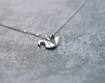 Silver Plated Origami Crane Necklace, Lightweight Silver Necklace, Sterling Silver Necklace, Everyday Jewellery