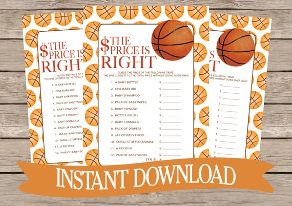 basketball baby shower the price is right game card instant download