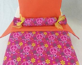 "Peace Doll Bedding Set - 18"" Doll Bedding Set - American Girl Doll Bedding Set - Peace Bedding ~ Ready to Ship!"