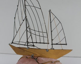 Decorative  Sailing Boat  In Agate  Base By Crey