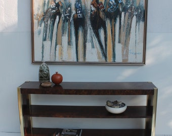 Vintage Century Furniture  Burlwood And Brass  Lacquered Console Table .