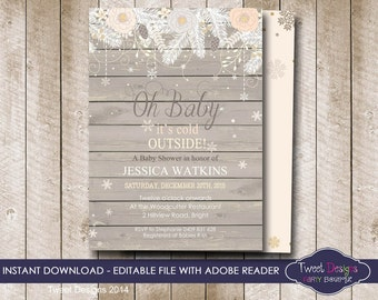 burlap baby shower invitation instant download floral baby shower invitation wood baby shower invitation