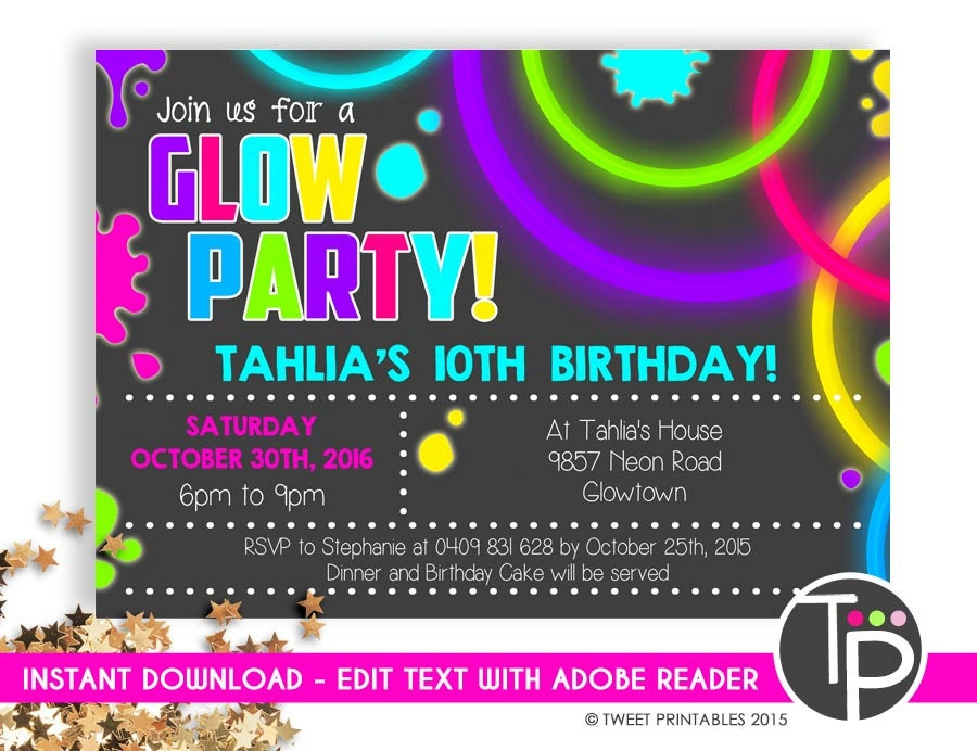 glow party invitation instant download neon invitations glow