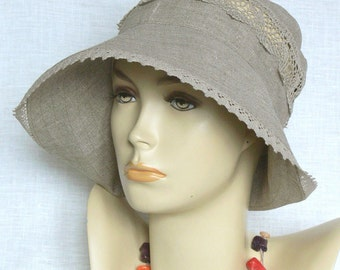 Linen hat, summer hat, women's hat, Oeko Tex,beige