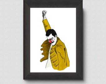 Ilustración decorativa retrato de 'Freddie Mercury'. Lámina de decoración para tu casa. Dibujo. Fan art