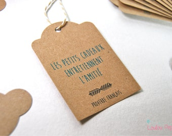 Lot 10 labels recycled kraft - quote friendship