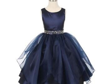 Flower girl dress navy taffeta and organza overlay with rhinestone waist. Navy blue flower girl dress, Navy junior bridesmaid dress