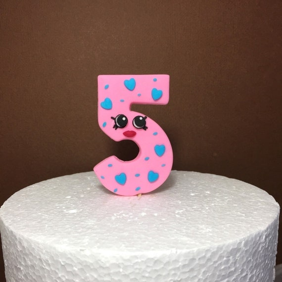 Edible Cake Decoration Numbers : Shopkins Birthday Number Cake Topper. Fondant Shopkins cake