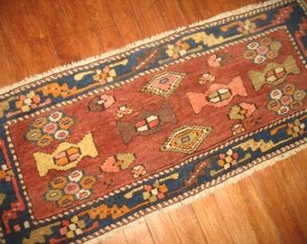 Antique Northwest Persian Heriz Rug Size 3'8''x1'3'' Horizantal Weave, Piano Rug!!!