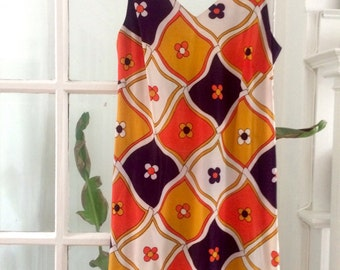 1960's geometric and flower print shift dress