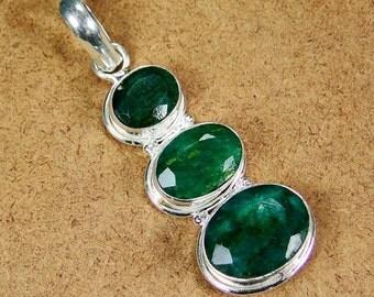 """Three Stone Emerald Sterling Silver Pendant 2"""""""