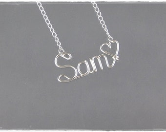 Sam Wire Word Name Pendant Necklace