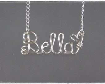 Bella Wire Word Name Pendant Necklace