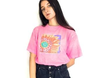 90s Sunflower Print Neon Pink Oversized Short Sleeve T-Shirt