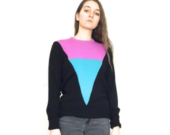 80s Multicolored Color Block Long Sleeve Geometric Pattern Sweater Size Large