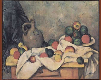 Curtain, Jug and Fruit - Paul Cezanne.FREE SHIPPING