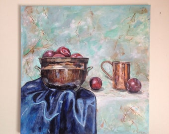 Still life painting, original acrylic painting, plums in a bowl, 70x70cm stretched canvas