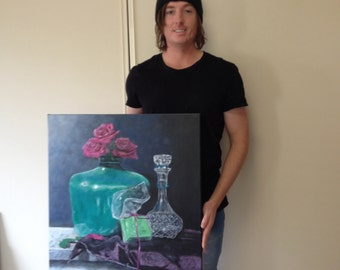 """Original painting, acrylic painting, still life painting, """"roses in a vase"""", 24x30 inch stretched canvas"""