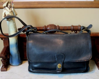 Coach Metropolitan Black Leather Briefcase With Brass Hardware- Made At The Factory In New York City- U.S.A.