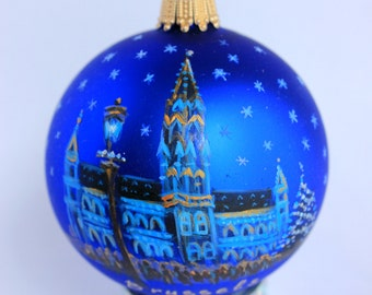 Hand painted Christmas Glass ornament Winter city