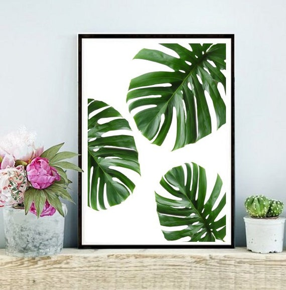 Tropical leaf printable art monstera leaves by for Green wall art