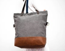 Folding bag - Convertible Tote, Canvas Base Cotton Adjustable Strap - Leather Handles/Canvas and Leather Tote/Heavy duty tote bag