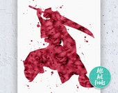 Auron Final Fantasy, Auron FFx, final fantasy art, final fantasy print, childrens posters, final fantasy poster, Watercolor Printable featured image