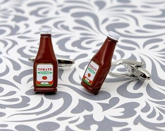 ON SALE Ketchup Condiment Cufflinks Burger