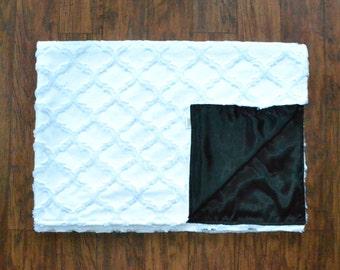 Snow-white Minky/Satin blanket.
