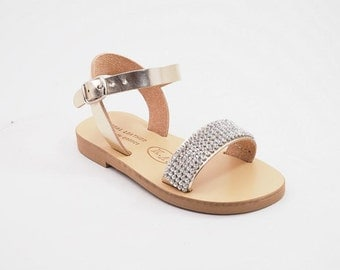 kids leather sandals (21 - Gold)