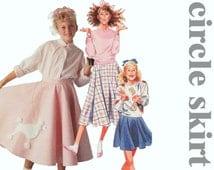 Full Circle Skirt Pattern MCCALLS 3510 sz 12 w 25.5 Girls Poodle Skirt Skating Skirt Retro Skirt 1950s Skirt Cheer Skirt Rockabilly Skirt