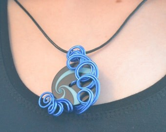 Handcrafted multimedia pendant necklace