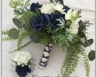 Blue bouquet set, whimsical, forest roses, bride bouquet. Wedding bouquet.