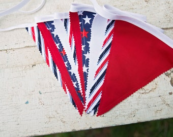 STARS AND STRIPES, Red White and Blue Bunting Banner Garland,Flag Pendant Banner,Photo Prop,Fourth of July,Patriotic Garland,Birthday Decor