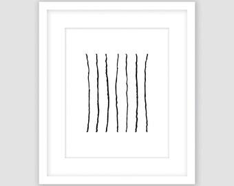 Lines Print, Black and White, Modern Geometric Print, Instant Download, DIY, Printable