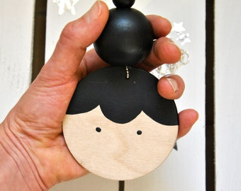 Lady Wooden Doll Face Necklace - Black - NEW VERSION