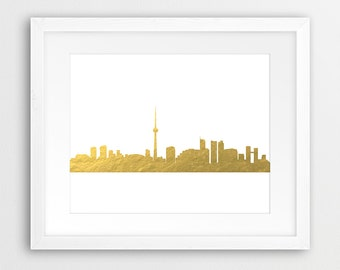 Toronto Skyline Printable, Toronto City Gold Foil Texture, Canada Cityscape, Modern Wall Art, Home Office Decor, Digital Print, Downloadable