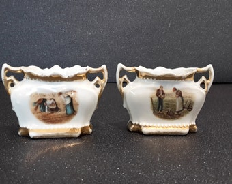 SALE ! pair of 2 antique small french porcelain salt and pepper cellars