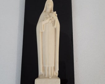 "Vintage french plastic holy ""Sainte Thérèse de Lisieux"" on black tile, religious tile, catholic decor"