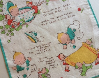 "Vintage MABEL LUCIE ATTWELL Children's Illustrated Hanky Featuring Nursery Song ""Rock-a-Bye-Baby"" ~ 1930's Handkerchief ~ Child Room Decor"