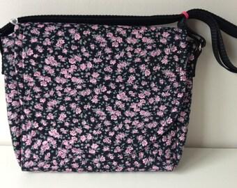 Black messenger bag, Pink messenger bag, Flowered messenger bag, Black shoulder bag, Pink messenger, Flowered shoulder bag, Black cross body