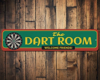 The Dart Room Welcome Friends Sign, Custom Metal Dart Board Gift, Personalized Game Room Man Cave Dorm Decor - Quality Aluminum ENS1002391