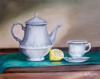 "Tea Set,  11"" x 14"" stretched canvas acrylic painting.  This shamrock designed tea set will bring a little bit of Ireland into your home."