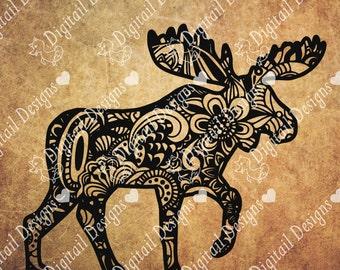 Zentangle Moose svg - png - ai - fcm - dxf - eps - Doodle Moose svg - Silhouette - Cricut - Die Cutter - Clipart - Printable Moose