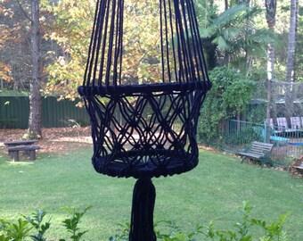 Black Macrame Plant Basket Hanger - Hanging Plant Holder